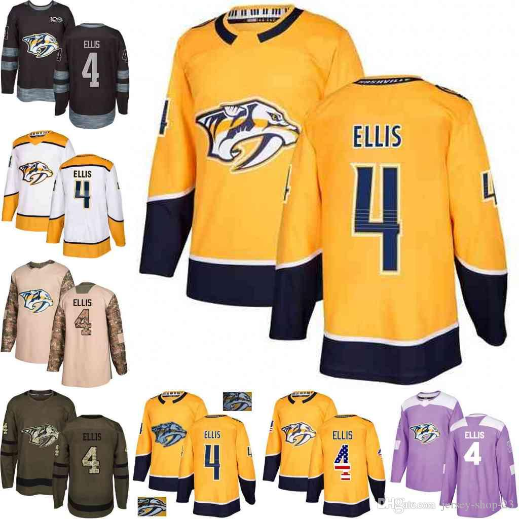 2019 Custom S XXXL Mens Womens Youth 2018 Nashville Predators 4 Ryan Ellis  Yellow White Army Green Black 100th Camo Hockey Jerseys From Jersey Shop  23 297cc1d97