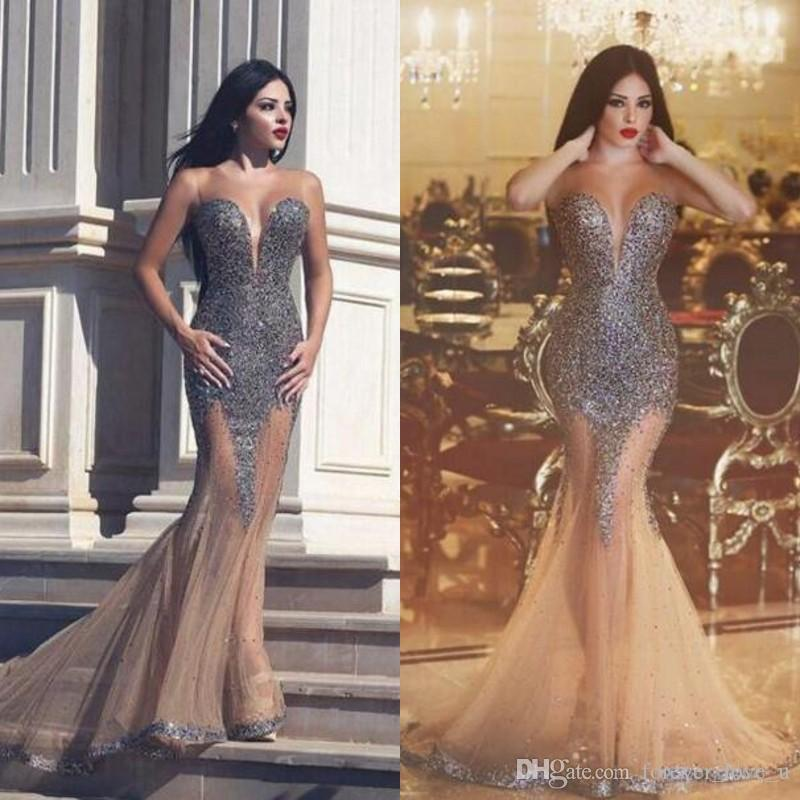 ea05fb0322e 2019 New Stunning Evening Dresses Sheer Jewel Neck Sleeveless Sequins  Champagne Tulle Mermaid Prom Party Gowns See Through Skirt Arabic Gown  Black Evening ...