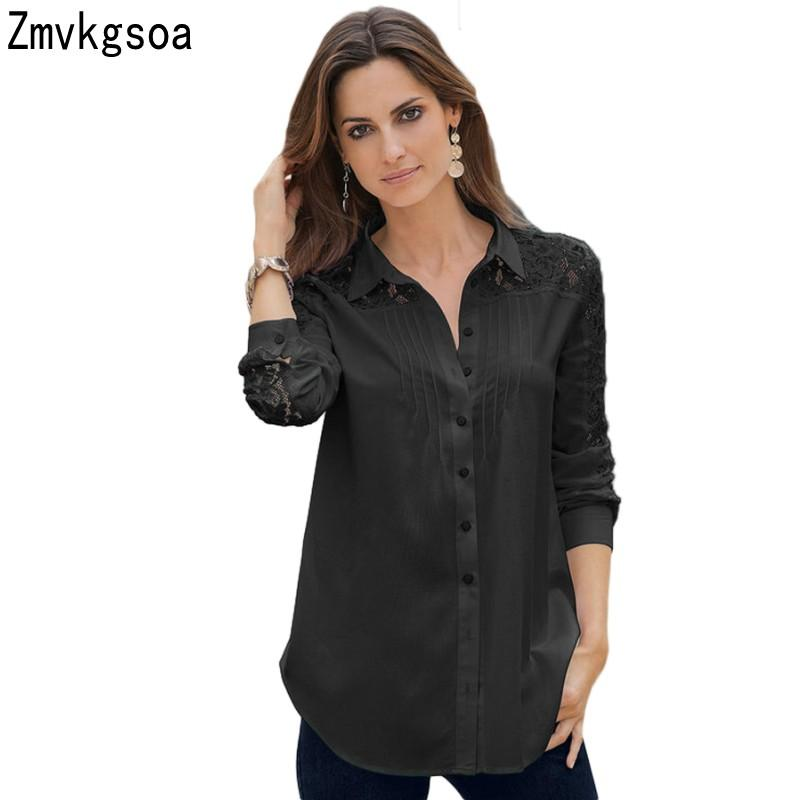 c455bdd7c481 2019 Zmvkgsoa Women Blouse Shirt Tops Black White Lace Splice Long Sleeve  Women S Button Down Shirt Top Blusas 2018 V2508050 From Baica
