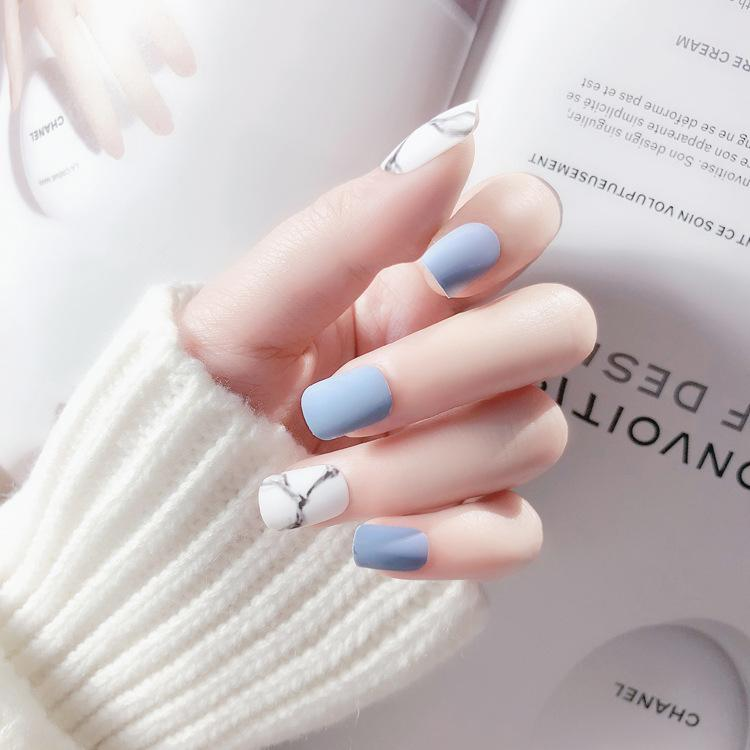 White Light Blue Fake Nail Frost Matte Marble Square Artificial Nail