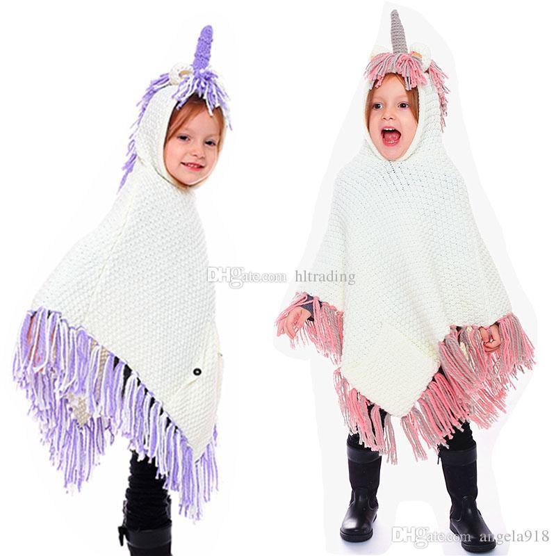 Ins Children Boys Girls Tassel Knit Poncho Cartoon Unicorn Hooded