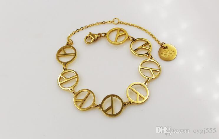 Barış bilezik ile yıldız 18 K gül altın savaş karşıtı kadın yüzük moda çift bilezik moda aksesuarları
