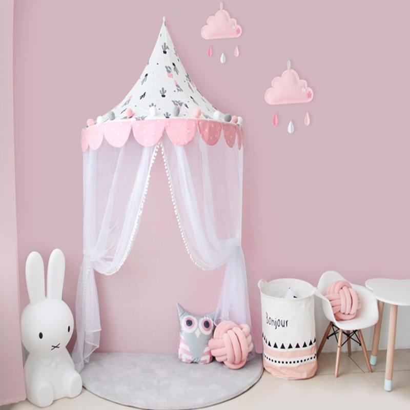 Baby Crib Netting Nordic Style Cotton Reading Corner Half Moon Tent Baby Cottage Game House Children Tents Bed Mantle Bedding