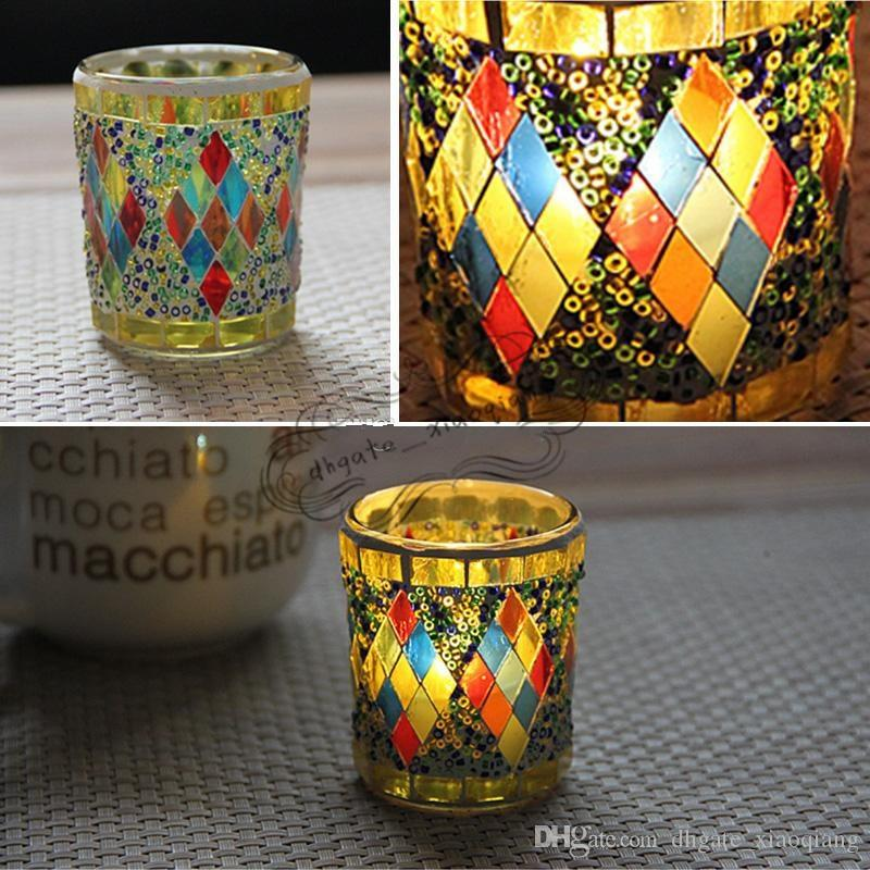 Small Glass Cup Candle Holders Mosaic Crack Candlestick Home Decor Dinner Wedding Party Gifts Bar Decoration No Candle Free DHL
