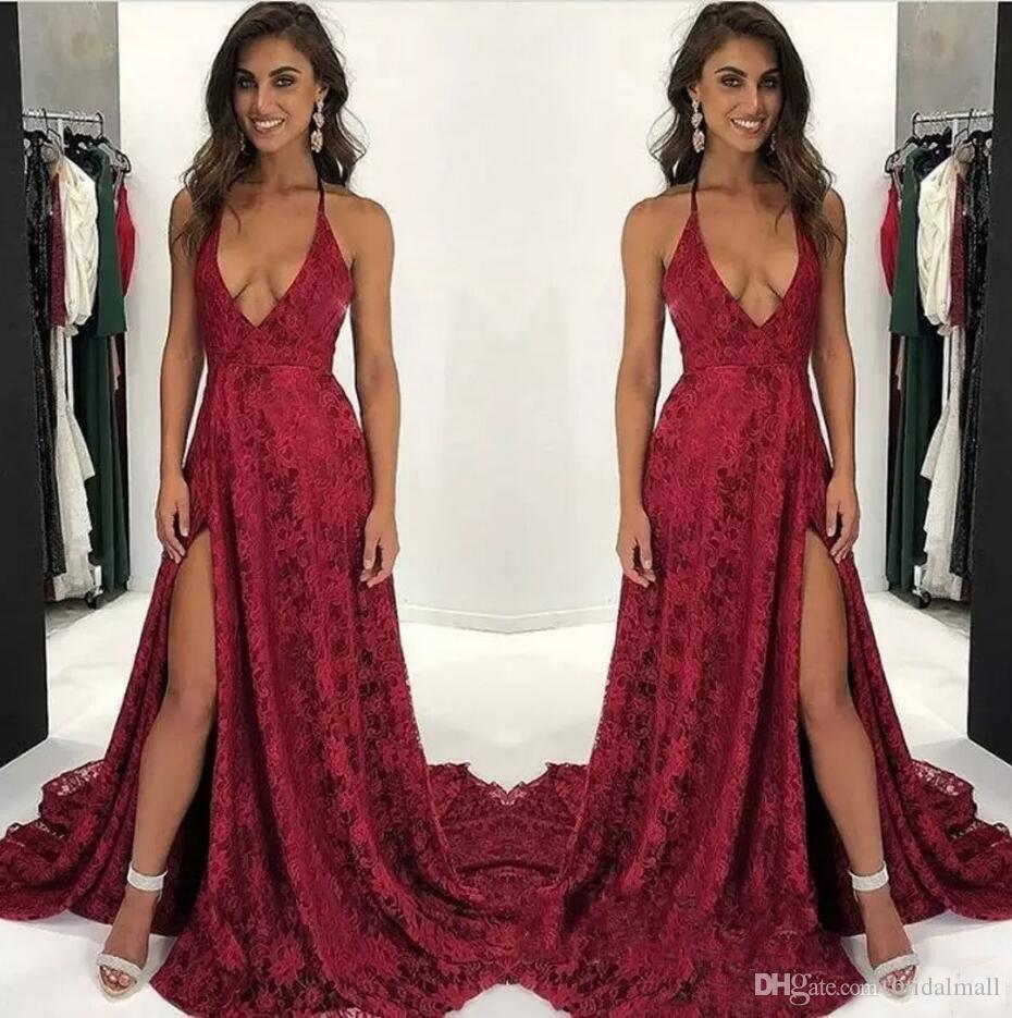 cdf075e469d Elegant Plunging V Neck Dark Red Full Lace Strappy Prom Dresses 2018  Sleeveless Formal Party Gowns High Split Evening Dresses Sweep Train Buy Prom  Dresses ...
