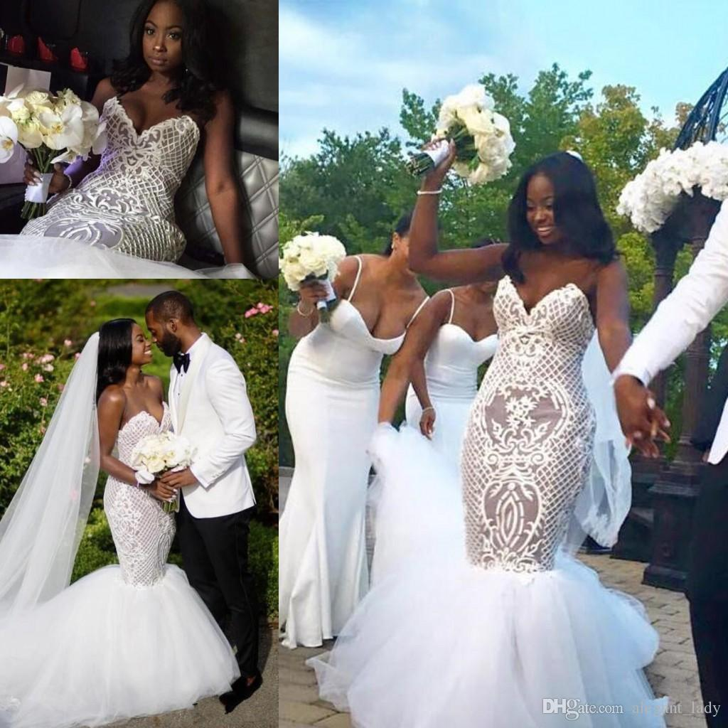 Nigerian African Wedding Dresses 2018 Modest Sexy Lace