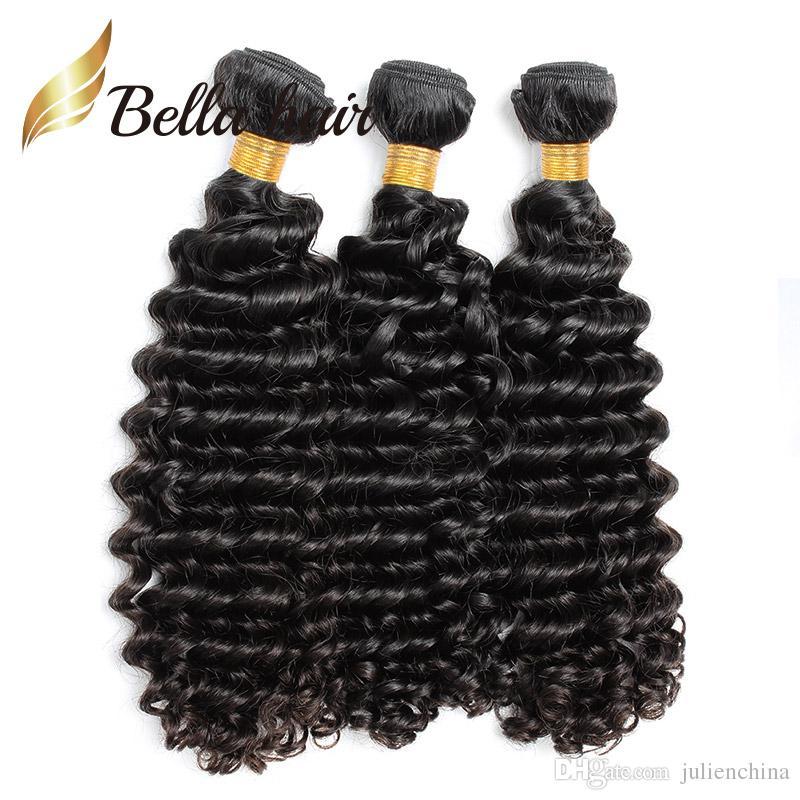 Bella Hair® 10 ~ 24inch 9A البرازيلي الشعر التمديد غير المجهزة البرازيلي موجة عميقة الشعر 3 قطعة / الوحدة اللون الطبيعي الشعر البشري ينسج Julienchina