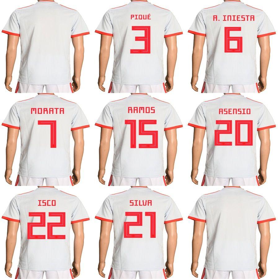 5d57c89b0 2019 Mens Womens Kids 2018 World Cup Spain Away White Soccer Jerseys 22 ISCO  20 ASENSIO 15 RAMOS 21 SILVR Football Uniforms Accept Custom From  Espn sport