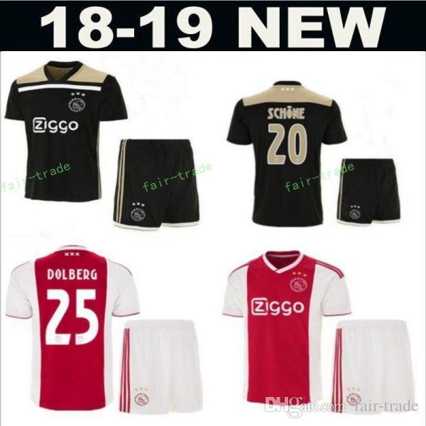 99f0770115a8c Acheter AFC Ajax 2018 2019 Hommes Football 7 David Neres Maillot Rouge Noir  10 Hakim Ziyech 25 Kasper Maillot Football Kit Uniforme De $13.21 Du Fair  Trade ...