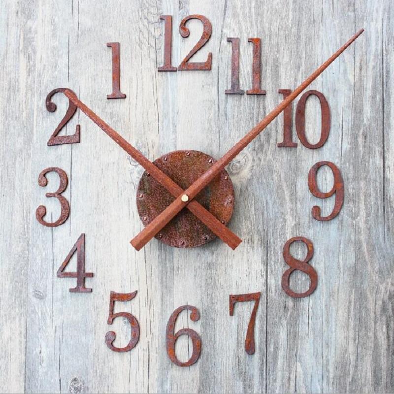0253d620934 Compre Diy Retro Relógio Relógio De Parede Saat Reloj Duvar Saati Relógios  De Parede Digital Horloge Murale Relógio Auto Adesivo Reverter Ponteiro  Decor De ...