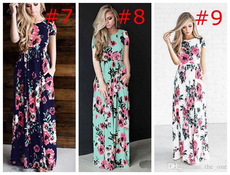 Vestidos de Boho impresos florales de la primavera del verano de las mujeres Beach Bohemia vestido de la playa larga Vestidos de maternidad de la vendimia maxi