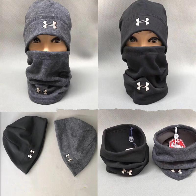 745c3874be0 Brand UA Hats Scarf Set Winter Under Knitted Hat Neck Collar Scarves ...