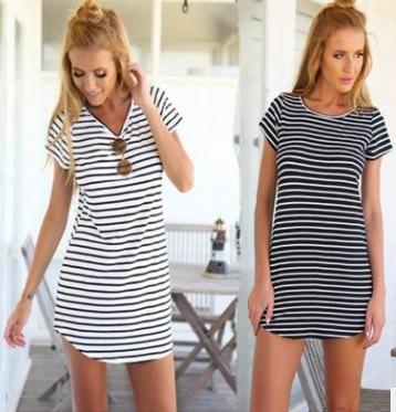 058cff5b5fb Wholesale- 2017 Summer Casual Long Striped Tee Shirt Camisas Femininas  O-neck Roupas Mujer Tumblr Female Vetement Loose Women Hot T-shirts Striped Tee  Shirt ...