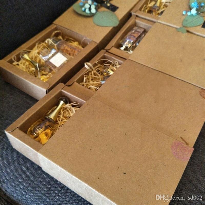 Marrón Papel Kraft Cajón Caja Boda Cumpleaños Fiesta Favor Regalo Dulces Cajas de cartón Rectángulo Paquete Caja para té perfumado 1hj5 YY