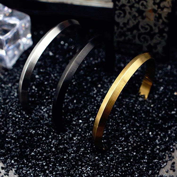 Nordic Swedish Triangle Charm Bangles for Women Opening Bracelets Gold Silver Black Titanium Bracelets Fashion Bangles
