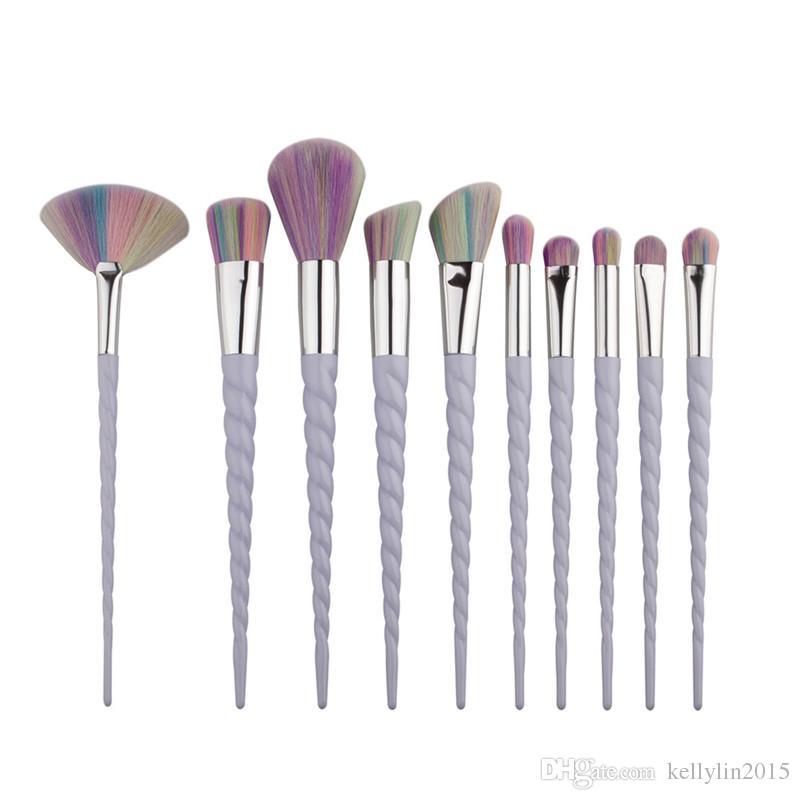 Makeup Brushes Set White Colorful Screw The Fan Professional Powder Eyeshadow Foundation Brush Tools Make up Brushes Kit