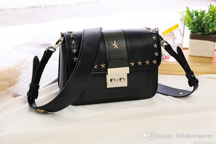 2017 Hot Fashion Women Bags Cross Shoulder Bags Celebrity Style Real Leather Color Block Stars Shoulder Bags Handbags