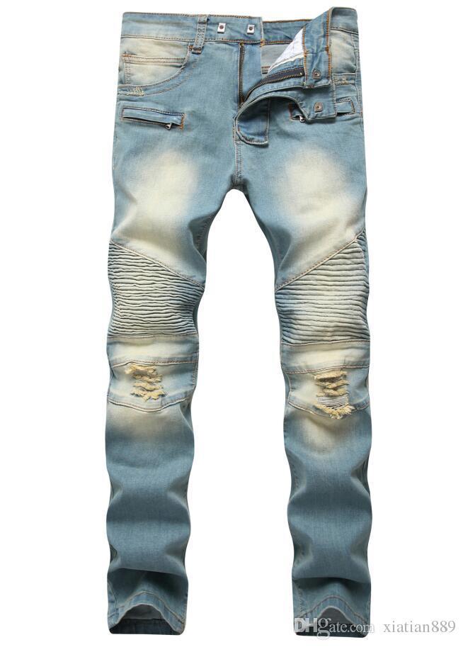 Moda uomo commercio estero luce blu nero jeans pantaloni moto motociclista uomini lavaggio a fare i vecchi uomini pantaloni casual Runway Denim