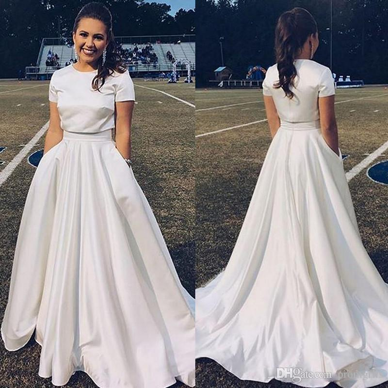Simple Long White Dress With Sleeves Naf Dresses: 2018 Simple Two Pieces Prom Dresses With Pockets Short
