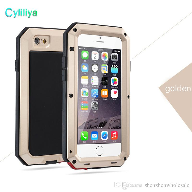 Luxury Shockproof Waterproof Powerful protection Aluminum Gorilla Glass Metal Cover Cell Phone Cases For iPhone X 4 5 6 6s 7 8 plus