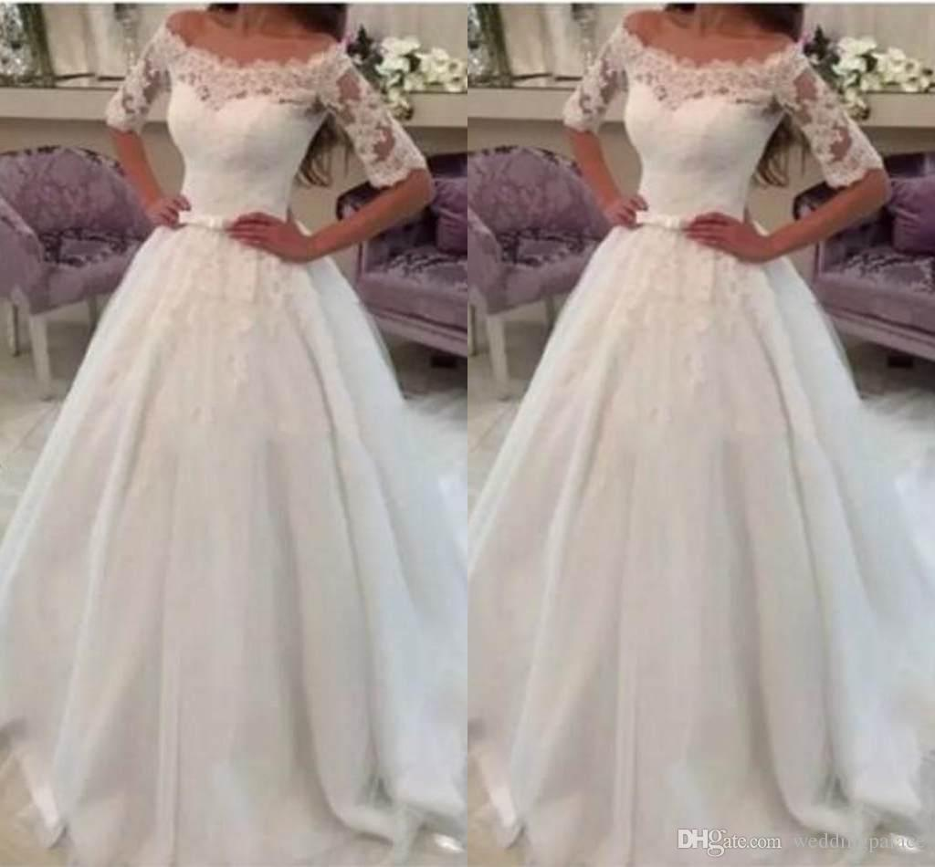 Discount New 2018 Modern Simple Wedding Dresses Lace Bow