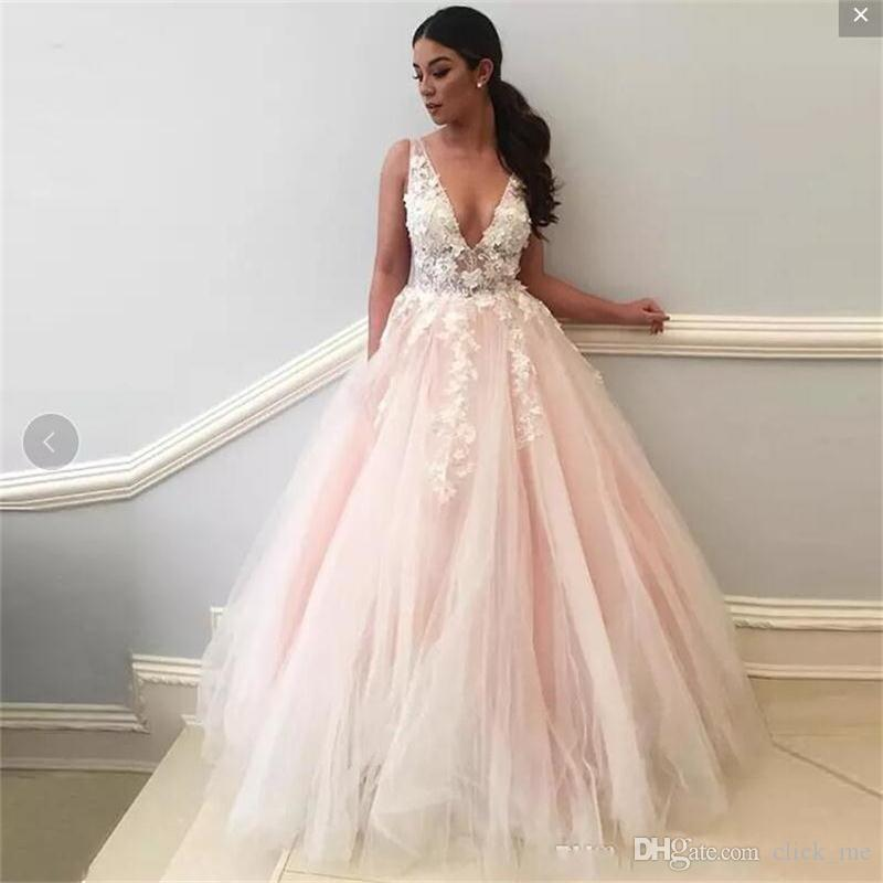 936d3ba1278 Light Pink Sexy Prom Dresses Sexy Deep V Neck Appliques Tulle Homecoming  Dress Party Formal Wear A Line Formal Evening Gowns Blue Prom Dress  Champagne Prom ...
