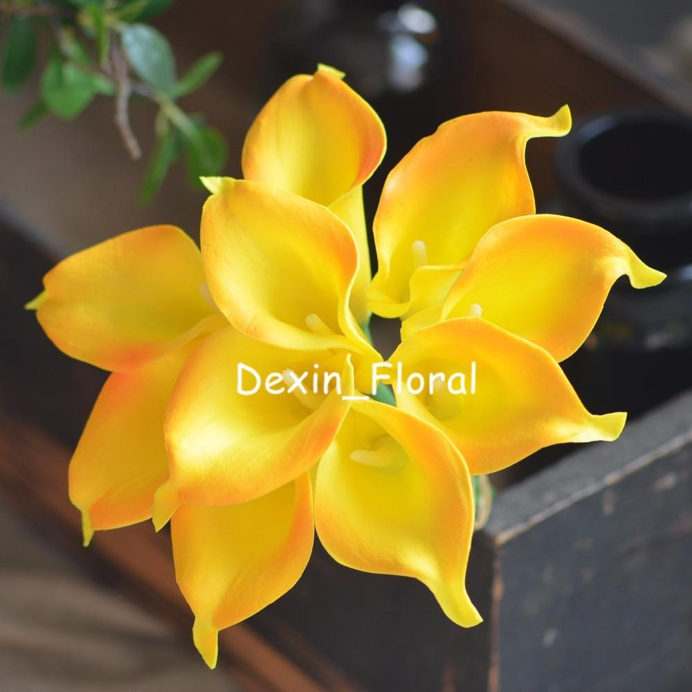2018 Yellow Orange Calla Lilies Real Touch Flowers For Silk Wedding
