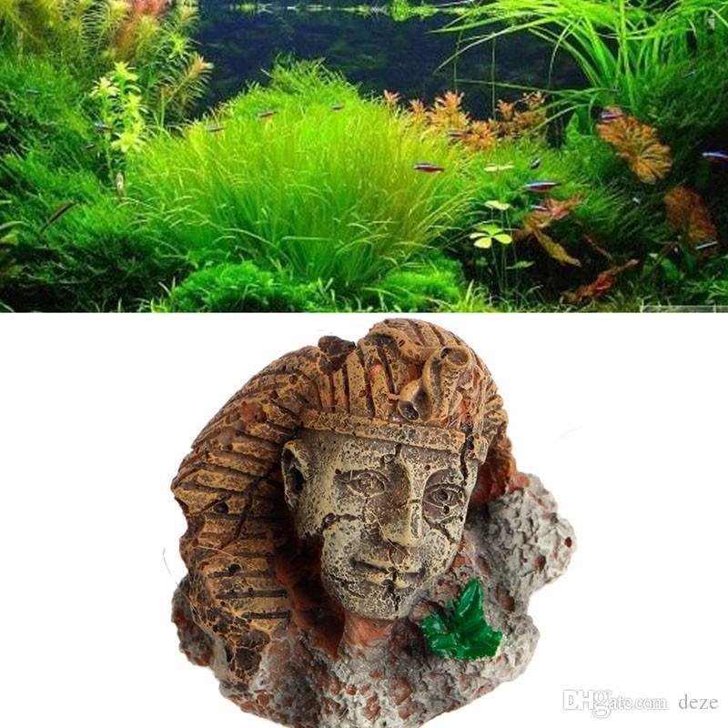 Decoración del acuario Cabeza de isla de Pascua Estatua / Faraón egipcio / Pirámide Tema del desierto Evite Ocultar Cueva Pecera Decoración de adorno de resina