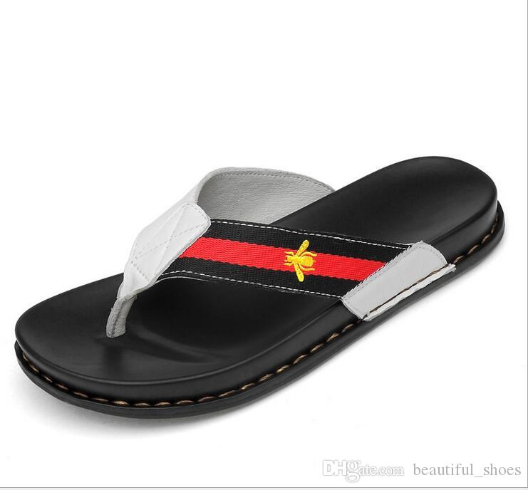 bf08e3c332e37 2018 New Summer Men s And Women s Leather Slippers Top Layer Leather Flip  Flops Soft Bottom Breathable Casual Sandals Size 37-45 Famous Brand 2018  Hot Sale ...