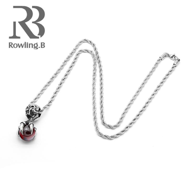 Necklaces Pendant for Men 316L Stainless Steel Eagle Claw Glass Ball Pendant Top Quality Steel Color Chain Fashion Jewelry Gift