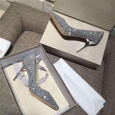 Gros-Fashion mariée strass cristal dimaond paillettes haut parti à talon bal bas NUDE pompes 2018 sexy talons en or mariage chaussures ROMY