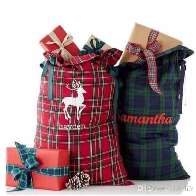 Großhandel Weihnachtsgeschenk Dekoration Plaid Santa Sack ...
