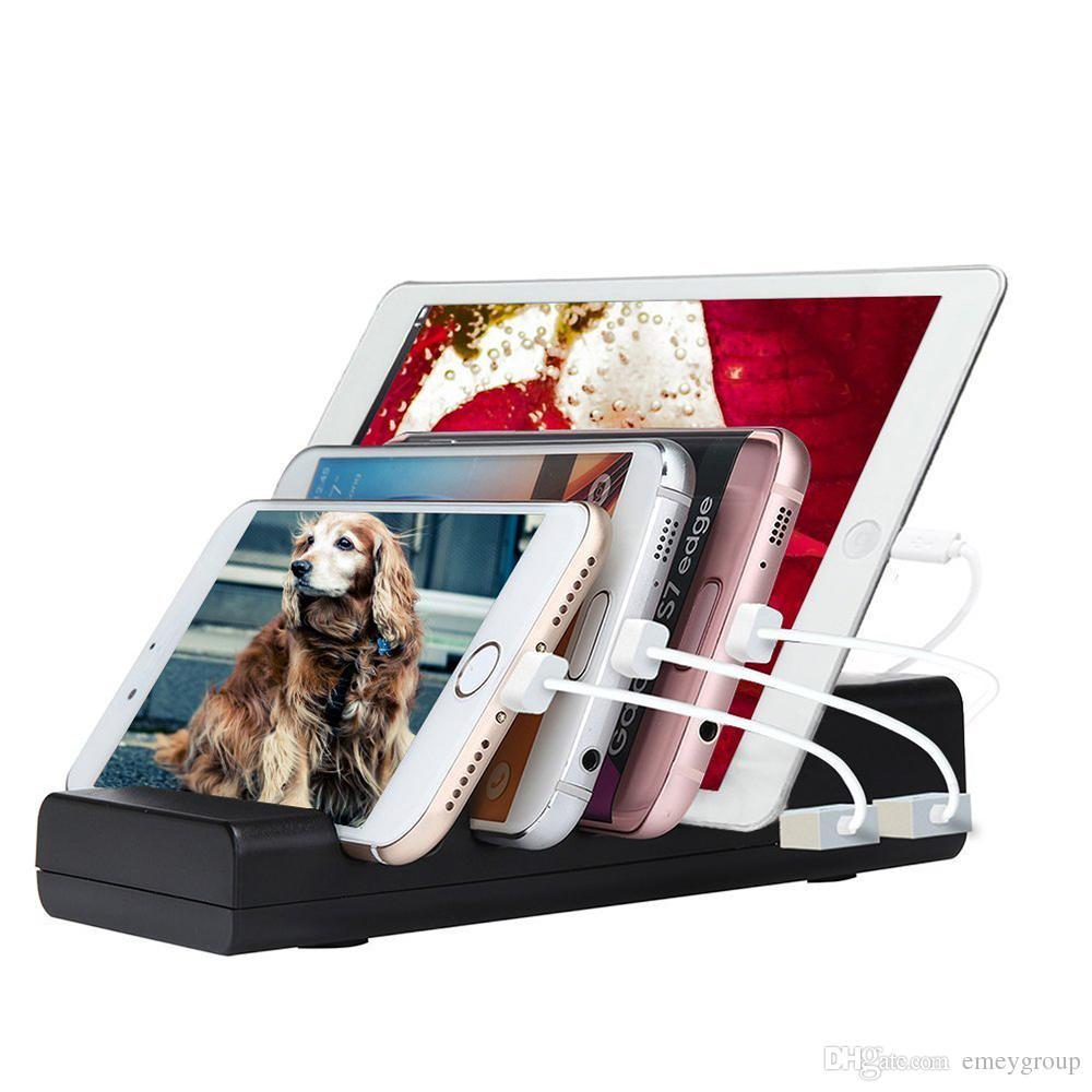 Universalhalter Desktop Ladegerät 4 Port USB Ladestation Organizer Mehrere Dock Ständer für iPhone 6 7 8 Plus iPad 4 5 PRO