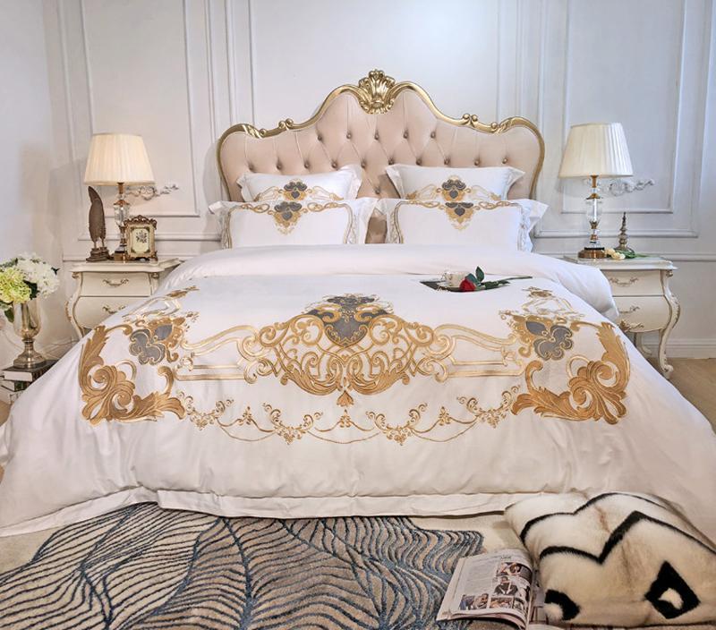 Großhandel Weiß Luxury Bedding Set Bettwäsche Aus ägyptischer