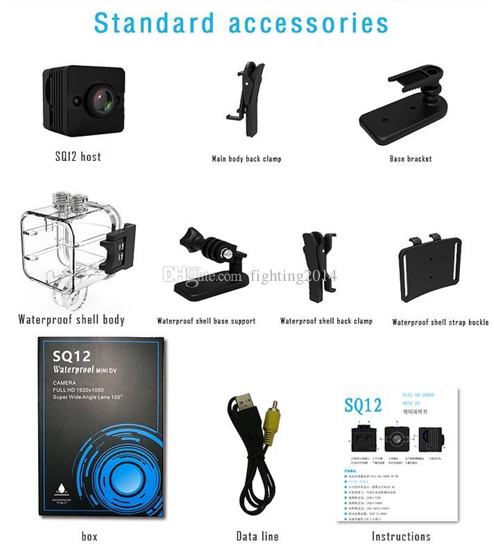 SQ12 ماء الرياضة كاميرا dvr مع الأشعة تحت الحمراء للرؤية الليلية كشف الحركة الكامل HD 1080P 720P المحمولة مصغرة dv كاميرا فيديو مسجل