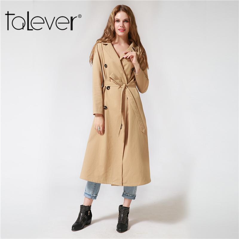77b5feddc4e 2018Women s Double Button Trench Women s Long Classic Windbreaker Trench  Coat Autumn Winter Outwear Office Lady Fashion Coat Talever Double Trench  Long ...