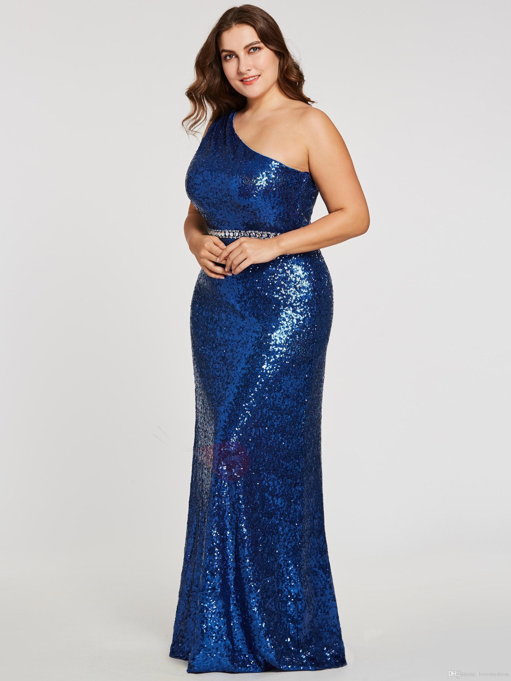 3653f81f3 Compre Royal Blue Prom Dress Vestido De Noche Para Mujer One Hombro  Lentejuelas Bling Fabric 2018 Vestido De Noche Crystal Floor Length Vestido  De Desfile A ...