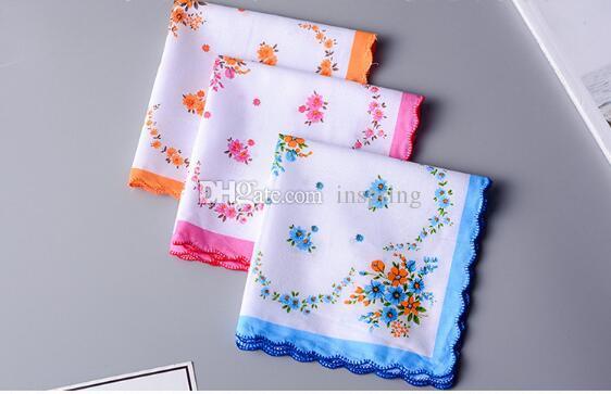 100% Cotton Handkerchief Towels Cutter Ladies Floral Handkerchief Party Decoration Cloth Napkins Craft Vintage Hanky Oman Wedding Gifts