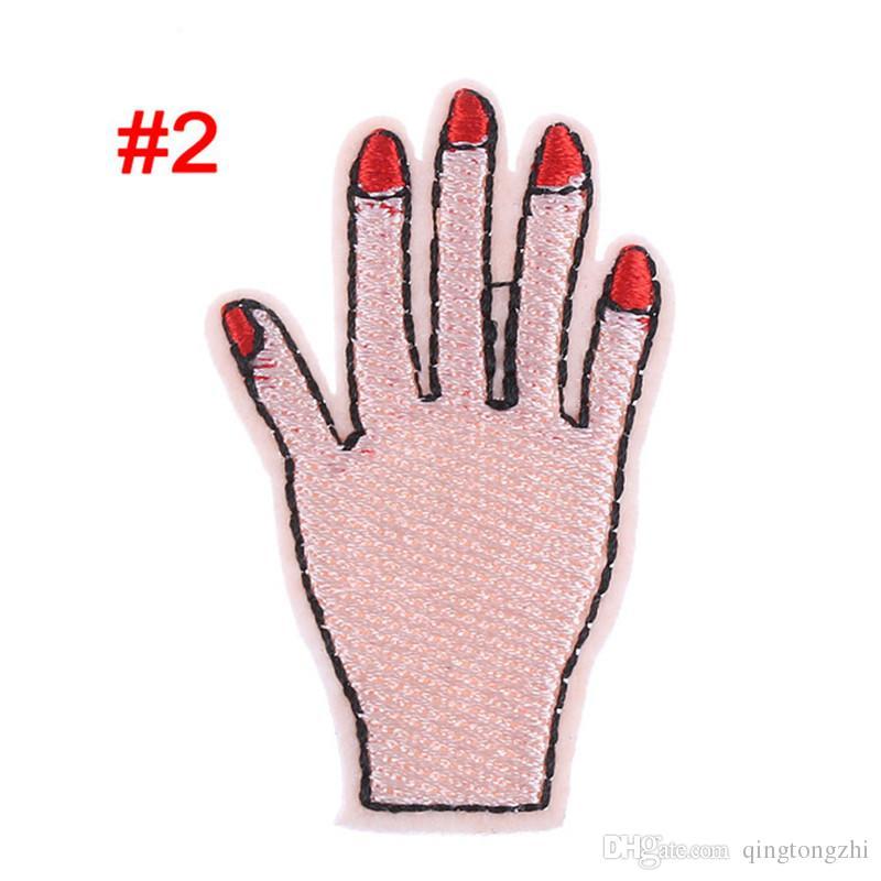 Meetee Peace Hand Kleidung gesticktes Eisen auf Flecken für Kleidung DIY Stripes Motiv Appliques Love Patch für Kleidersack FZ035