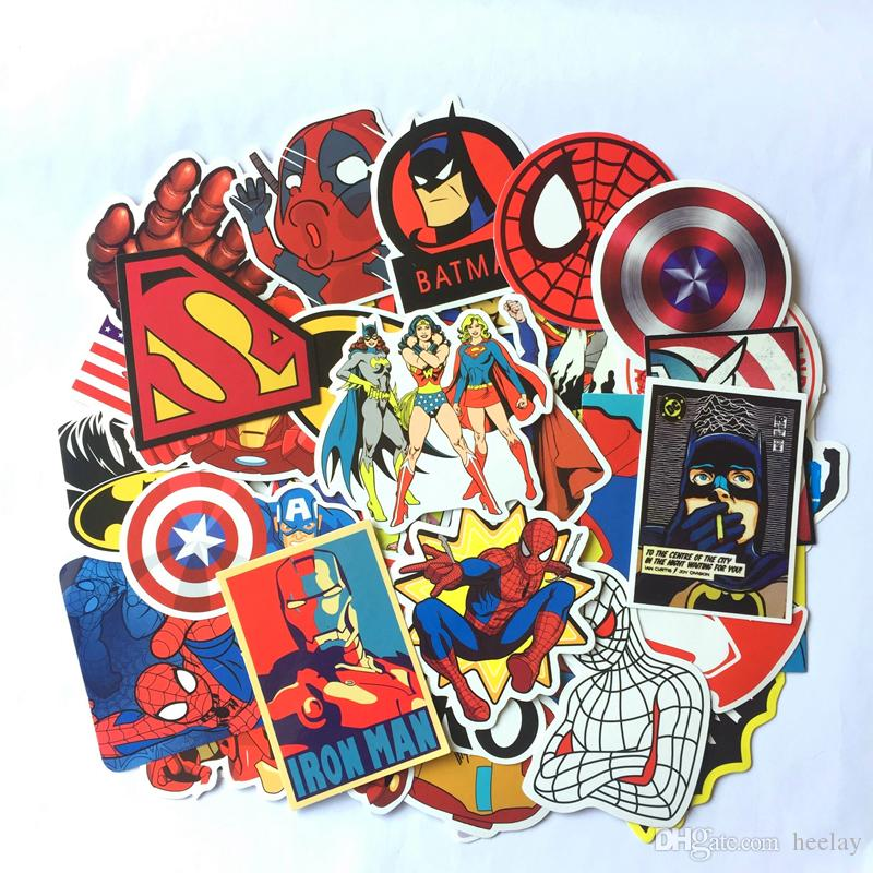 50Pcs Car Sticker Super Hero Spiderman Stickers Iron Man Cartoon for Laptop Suitcase Skateboard Refrigerator Wall Guitar Moto Car Kids Toy