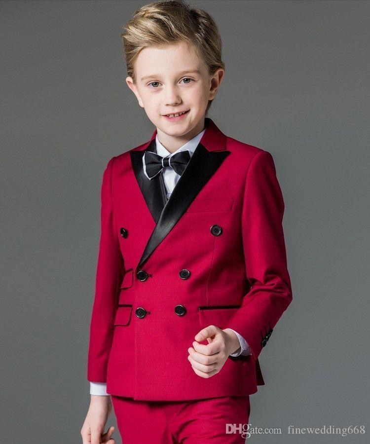 Cool Double-Breasted High Quality Peak Lapel Red Kid Complete Designer Boy Wedding Suit Boys' Attire Custom-made (Jacket+Pants+Tiet) A A02