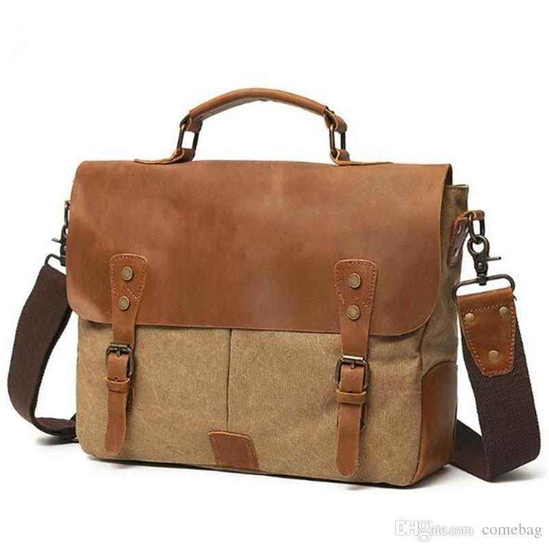 Men Genuine Leather Briefcase Business Bag Canvas Cross Body Shoulder Bag Business Laptop Bag Full Grain Leather Handbag