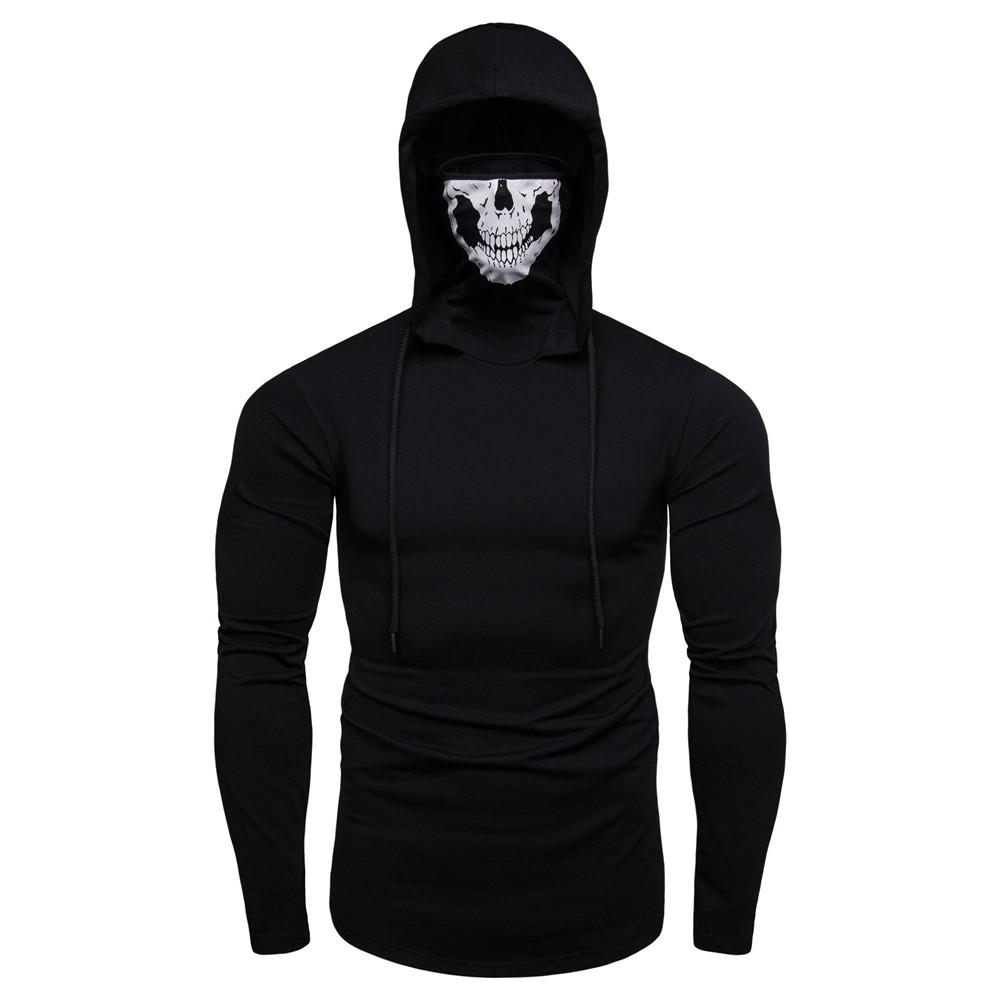 098ce3d3b Mens Mask Skull Pure Color Pullover Long Sleeve Hooded Sweatshirt Tops Black/Gray  Plus Size 3XL Men's Hoodies Tops