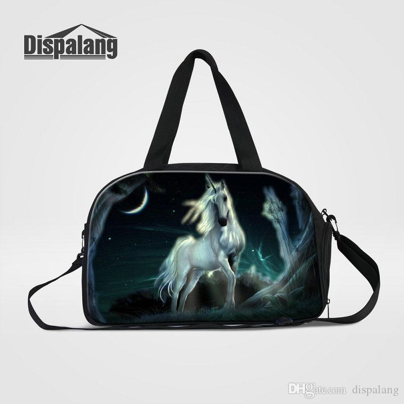 b88d53a4a753 Diamond Unicorn Pattern Travel Duffle Bags For Women Canvas Weekender Hand  Bag With Shoes Pocket Top Quality Deffel Overnight Bags For Teens Laptop  Backpack ...
