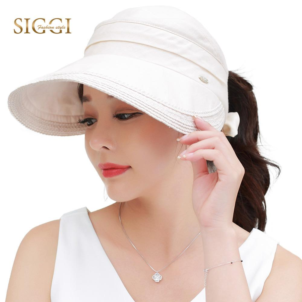 SIGGI Women Summer Hat Sun Visor Wide Brim Packable 100%linen Upf50 Uv Cap  Vent Free Size Fashion 89326 D18103006 Straw Cowboy Hats Sun Hats For Men  From ... de63c5bca0c2