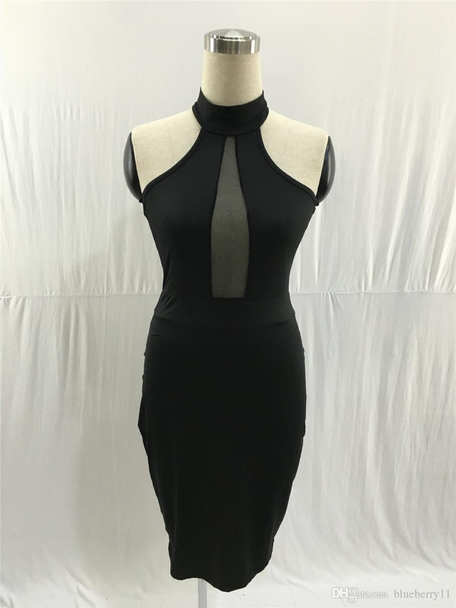 Summer Sleeveless Midi Bodycon Dress Backless Sexy Women Dress Club Wear Elegant Mesh Party Dresses Black S-XLFree Shipping