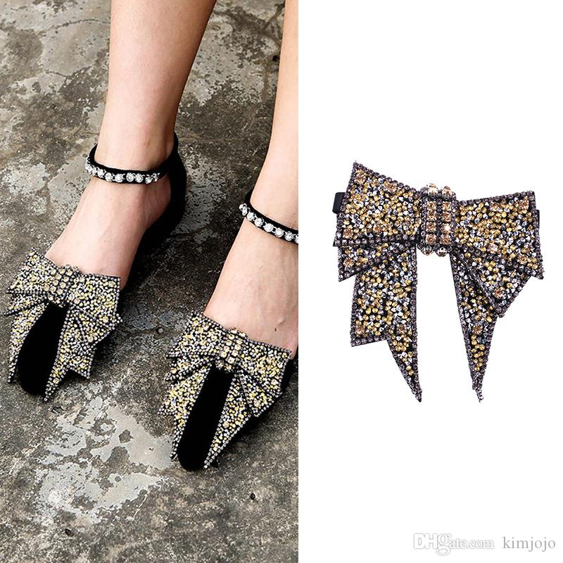 d2766c64924a 2019 Hand Made Rhinestone Shoe Decoration High Quality Bow Sandal Shoes  Button Clip DIY Manual Metal Shoe Decorations From Kimjojo