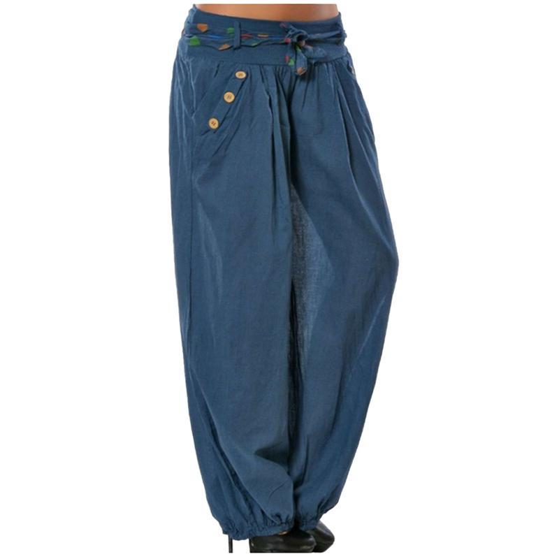 208429c254 Compre LASPERAL Causal Mujeres Pantalones Anchos 2018 Bolsillos Con Cordón  Botón Pantalones Sueltos De Cintura Baja Pantalones De Playa Tamaño Grande  ...