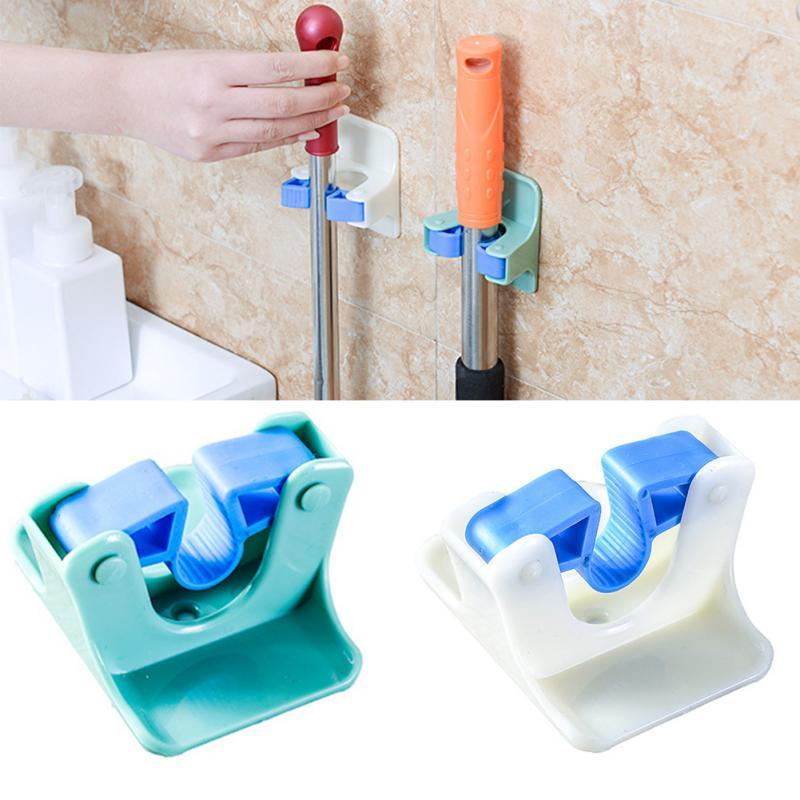 Kitchen Sticky Wall Mop Broom Holder Home Toilet Storage Broom Organizer Wall Mounted Cleaning Tool Fixed Clip 2PCS