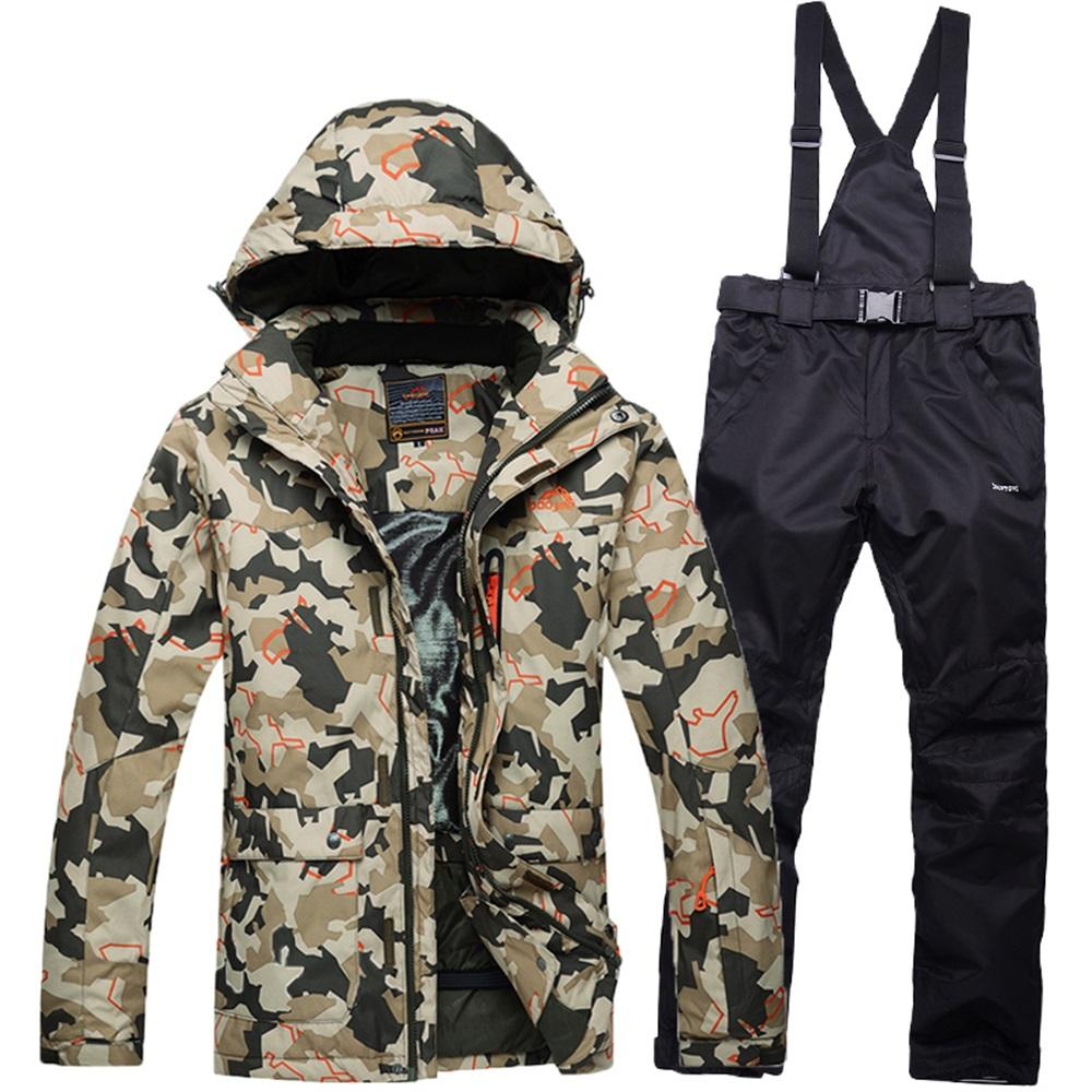 Camouflage Printed Man Winter Ski Suit Ski Jacket Pants Set Men Windproof Waterproof Snow Suit Outdoor Winter Sport Clothing